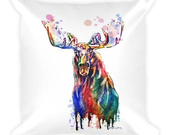 Moose with Bubbles Watercolor  Pillow