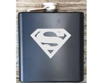 Superman Inspired Flask Engraved Bachelor Party Gift Groomsmen
