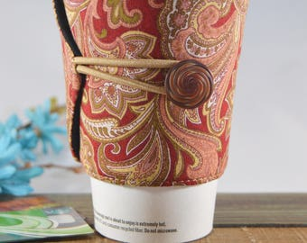 Rustic Paisley Cup Cozy, Gift for Coffee Lovers, Novelty Unisex Present, Tea Enthusiasts, Java Jacket Cup Sleeve, Rust Colored cup jacket