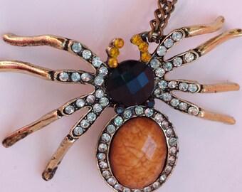 Crystal Rhinestone Spider Pendant Necklace