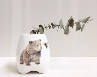 Bear and Bumble Bee Ceramic Planter, Handmade Plant Pot, Indoor Flower Pot, Mother's Day Gift