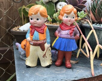 Vintage Baby Doll Cowboy and Cowgirl Bisque Dolls Figurines Japan
