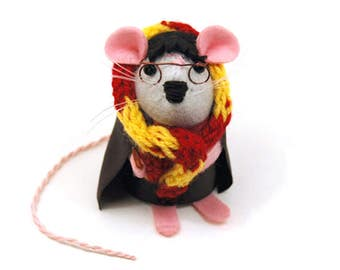 Harry Potter Mouse - collectable art rat artists mice felt mouse cute soft sculpture stuffed plush doll gift for Harry Potter fan bookworm