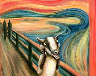 Scream Goat - Edvard Munch The Scream Parody - Alternative Portrait Print of Original Painting - Fine classic Famous Artist Pygmy Goat