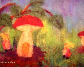 Mushroom, the gnome's home-art print for children  of my original needle felted wool painting picture