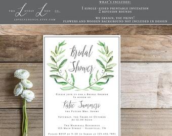 Printable Bridal Shower Invitation - the Annaleigh Collection - Laurel - Olive Leaf
