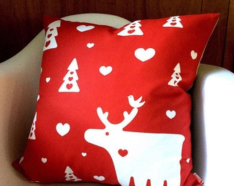 White on Red Moose Pillow 18 Inches Square Linen Pillow