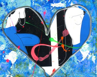 Original Heart Painting Small Abstract Acrylic Collage Blue White Black Neon Pink