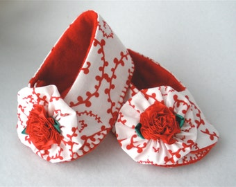 Hand Sewn Baby Shoes,  Red and White Girls Hand Stitched Cotton Booties,  Red Carnation Ruffle