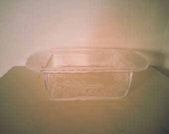 Large Glass Butter Dish with linear design