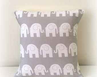 Grey Elephant Cushion Cover - Grey Nursery Decor - Decorative Pillow Cover - New Baby Gift - Baby Shower -Neutral Nursery -Elephants Nursery