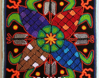"""7.9"""" Huichol painting, Mexican decor, Mexican painting, Native art, Mexican wall art, Mexican folk art, Huichol art, Mexican art, 20-093"""