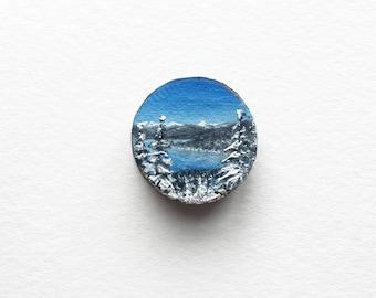Lake Tahoe in Winter, Original Miniature Painting