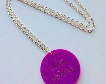 Girl Gang | Feminist | Roller Derby | Heart | Love | Heart | Emo | Laser Cut | Acrylic | Necklace