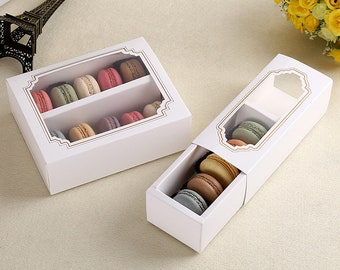 Macaron Boxes for 5/10 Macarons Gift Box with PVC cavity window