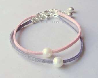 Silver Single PEARL Bracelet - Floating Natural Large Freshwater Pearl on Faux Suede Cord Bracelet / Anklet -  Made In Usa 30