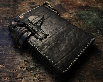"Junk Style Vintage Black Medium Wallet  ""Medieval-like Metal Fittings"""