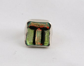 silver ring 0.925 with dichroic glass.