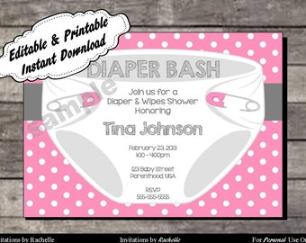 Diaper Invitation for Baby Shower or Diaper Bash - Editable Printable Digital File with Instant Download