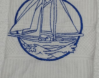 Embroidered Towel with Nautical Theme