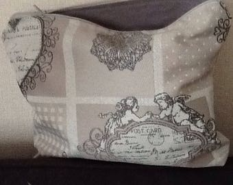 Clutch purse in gray cotton Angels