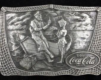 Vintage 1976 Coca Cola Boy Boat Coke Memorabilia Pop Soda Bottle Opener Belt Buckle
