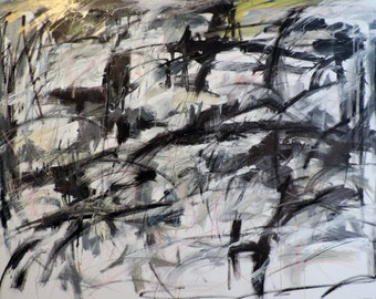 Untitled Abstraction, 3-9-16 (LARGE 4' x 3'  abstract expressionist painting on canvas, black, white, cream, gray, gold, silver)