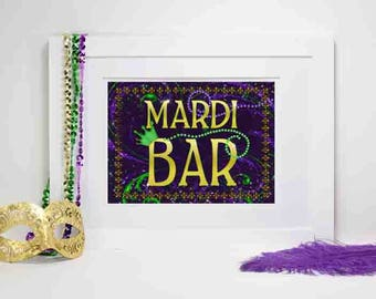 Mardi Gras Bar Sign, Mardi Gras Party Decoration, Mardi Gras Party Decor, Mardi Gras Bar, Mardi Gras Drink Sign, Party Decorations, Bar