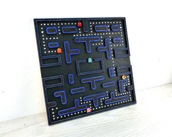 Pacman Plaque Gaming Art lasergeschnitten geschichtet Holz Wand-Dekor