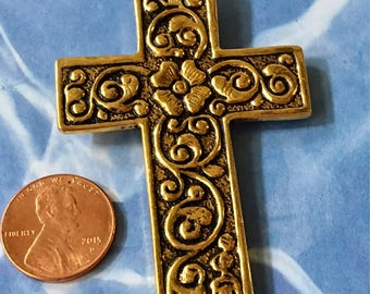 Cross Pendant Gold Floral Ornate Pewter