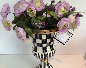 OOAK Handpainted Designer Black / White Check Urn Planter!