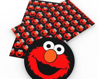 Elmo, Pattern, Faux Leatherette Sheet, Size 8 x 13in, Synthetic, Leather, Pleather, Craft, Hairbow
