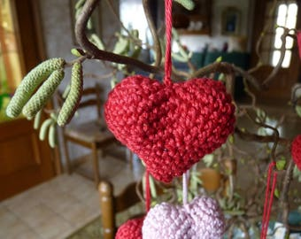 Red crocheted 3D heart