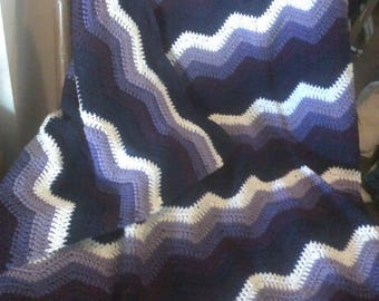 Hand crocheted afghan, coverlet, throw