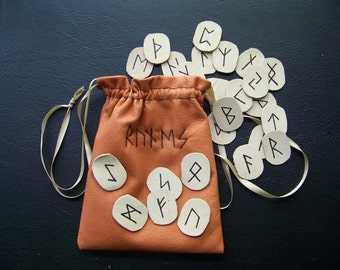 Hello Spring 20% off Sale Runes-Leather with Leather Pouch - Made to Order
