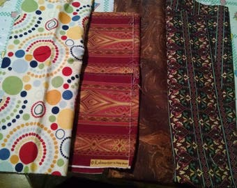 Mixed Lot Of Fabric Pieces Crafting Quilting Brown Color Scheme