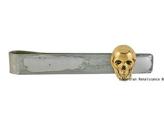 Skull Tie Bar Clip Inlaid in Hand Painted Metallic Silver Glossy Enamel Slide Tie Accent Gothic Inspired with Personalized and Color Options