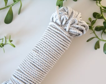 Cotton rope GREY color 5mm, 3 strand, 100 feets or 200 feets bundle, macrame, jewelery, craft