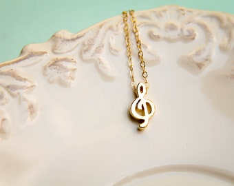 Treble Clef Necklace in Vermeil and Gold Filled
