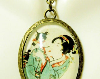 Geisha with her cat pendant with chain - CAP09-074