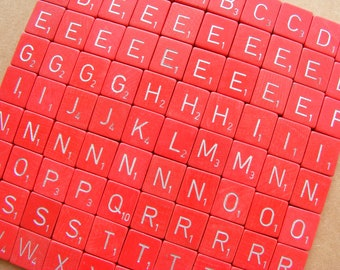 Red scrabble letter tiles - 97, bulk wooden letters from a vintage Scrabble game
