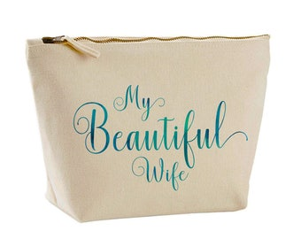 Beautiful Water Colour Canvas Make Up Bag My Beautiful Wife, Gifts for her