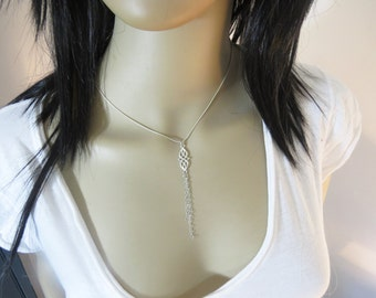 Sterling silver celtic necklace, Long necklace silver with chain tassel, Y necklace, Irish necklace celtic knot