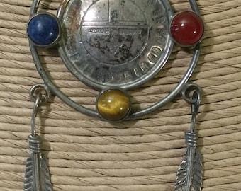 Vintage Hopi Native American Artist Signed CT SM Sterling Silver and Semi-precious Stone Dream Catcher Necklace Pendant