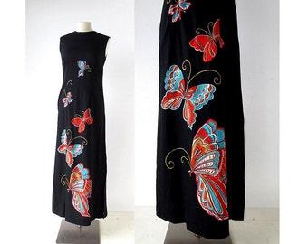 70s Maxi Dress   Butterfly Dress   1970s Dress   XS