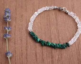 Malachite and Quartz bracelet