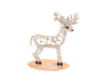 Czech handmade glass rhinestone Christmas reindeer free standing