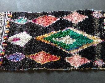 Boucherouite rug Moroccan vintage black