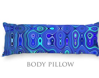 Blue Bed Pillow-Fleece Sleeping Pillow-Bed Pillow Cover-Blue Body Pillow-Microfiber Pillow Cover-Funky Pillow-Bed Bolster-Fleece Body Pillow