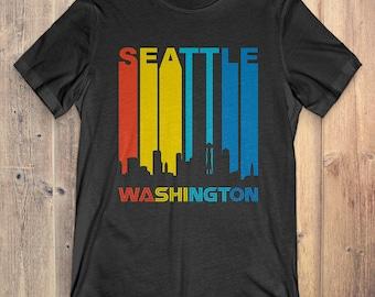 Retro 1970's Style Seattle Washington Skyline Vintage T-Shirt